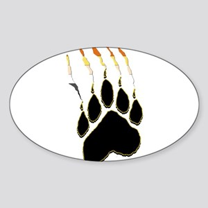 Bear Pride Paw Rip Oval Sticker