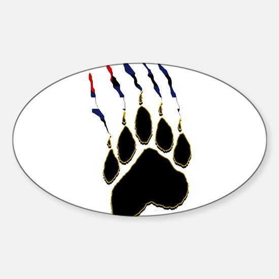 Leather Pride Paw rip Oval Decal