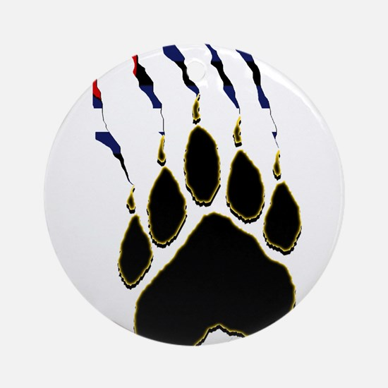 Leather Pride Paw rip Ornament (Round)