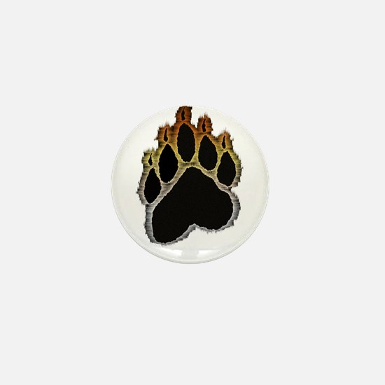 Bear Pride Glow Paw Mini Button