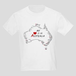 My Heart is in Australia Map Kids Light T-Shirt