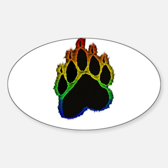 Gay Pride Bear Paw Oval Decal
