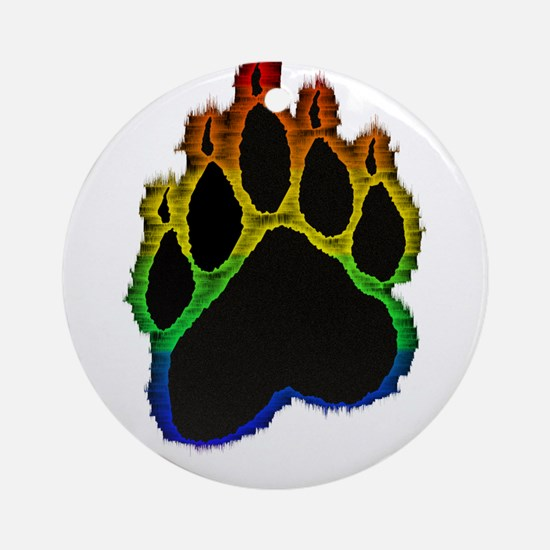 Gay Pride Bear Paw Ornament (Round)