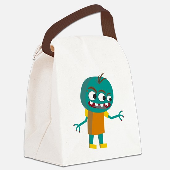 Funny Green monster Canvas Lunch Bag