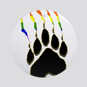 Gay Pride Paw Rip Ornament (Round)