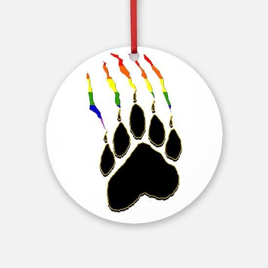 Gay Pride Paw Rip Ornament (Round)