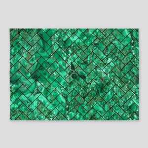 BRICK2 BLACK MARBLE & GREEN MARBLE 5'x7'Area Rug
