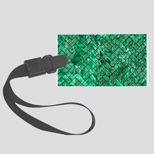 BRICK2 BLACK MARBLE & GREEN MARB Large Luggage Tag