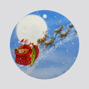 Santa with his Flying Reindeer Round Ornament