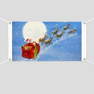 Santa with his Flying Reindeer Banner