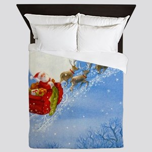 Santa with his Flying Reindeer Queen Duvet