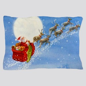Santa with his Flying Reindeer Pillow Case