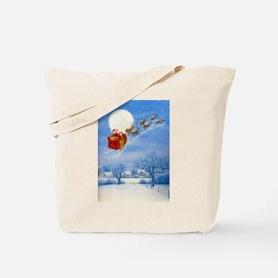 Santa with his Flying Reindeer Tote Bag
