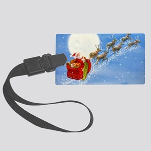 Santa with his Flying Reindeer Luggage Tag
