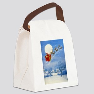 Santa with his Flying Reindeer Canvas Lunch Bag