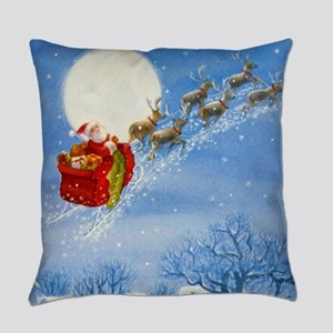 Santa with his Flying Reindeer Everyday Pillow