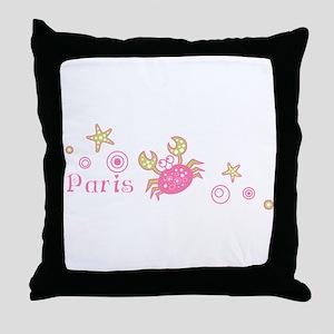 Paris Pink Crab Throw Pillow
