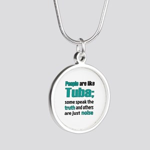 People are like Tuba Silver Round Necklace