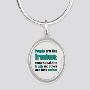 People are like Trombone Silver Oval Necklace