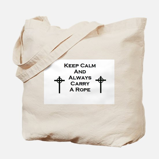 Keep Calm and Carry Rope Tote Bag