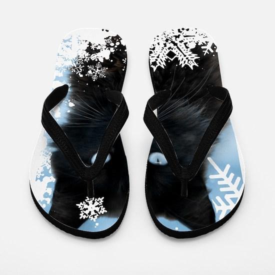 BLACK CAT & SNOWFLAKES (Blue) Flip Flops