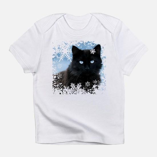 BLACK CAT & SNOWFLAKES (Blue) Infant T-Shirt