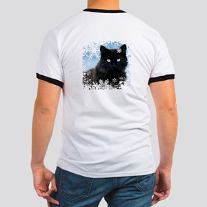BLACK CAT & SNOWFLAKES (Blue) Ringer T