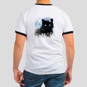 BLACK CAT & SNOWFLAKES (Blue) Ringer T