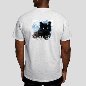BLACK CAT & SNOWFLAKES (Blue) Light T-Shirt