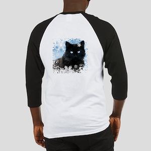 BLACK CAT & SNOWFLAKES (Blue) Baseball Tee