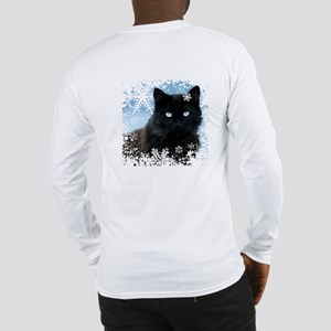 BLACK CAT & SNOWFLAKES (Blue) Long Sleeve T-Shirt