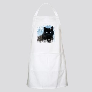 BLACK CAT & SNOWFLAKES (Blue) Apron
