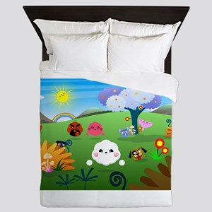 Happy Colorful Planet 01 Queen Duvet