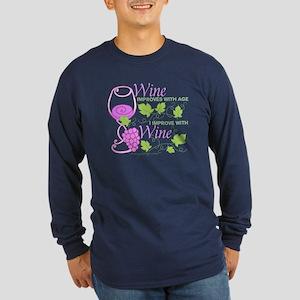 Wine Improves With Age Sa Long Sleeve Dark T-Shirt