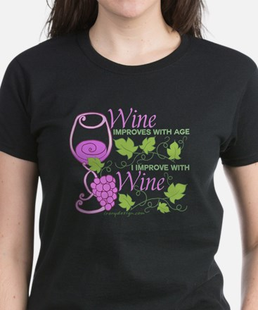 Wine Improves With Age Saying Women's Dark T-Shirt