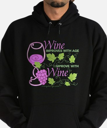 Wine Improves With Age Saying Hoodie (dark)