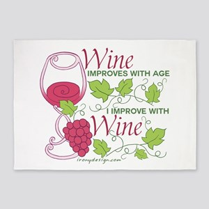 Wine Improves With Age 5'x7'Area Rug