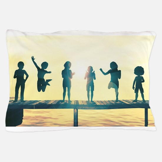 Happy Children Playing Pillow Case