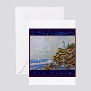 Rock Coast Lighthouse Greeting Cards