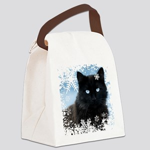 BLACK CAT & SNOWFLAKES (Blue) Canvas Lunch Bag