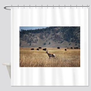 Yellowstone Bison and Antelope Shower Curtain