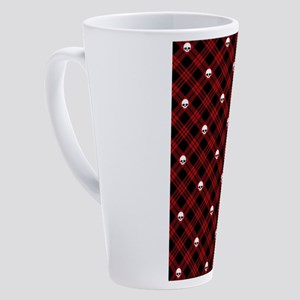 skull-plaid-red_sb 17 oz Latte Mug