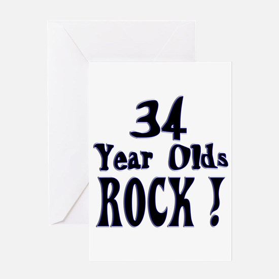 34 Year Olds Rock ! Greeting Card