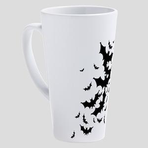 bats-many_bl 17 oz Latte Mug