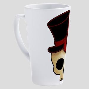 skull-hat-red_shaded 17 oz Latte Mug