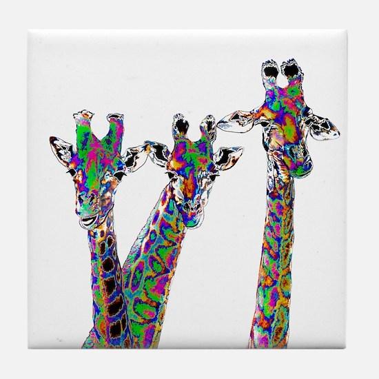 Giraffes in New Pajamas Tile Coaster