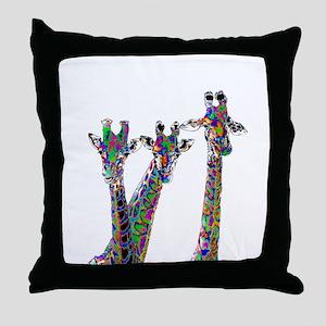 Giraffes in New Pajamas Throw Pillow