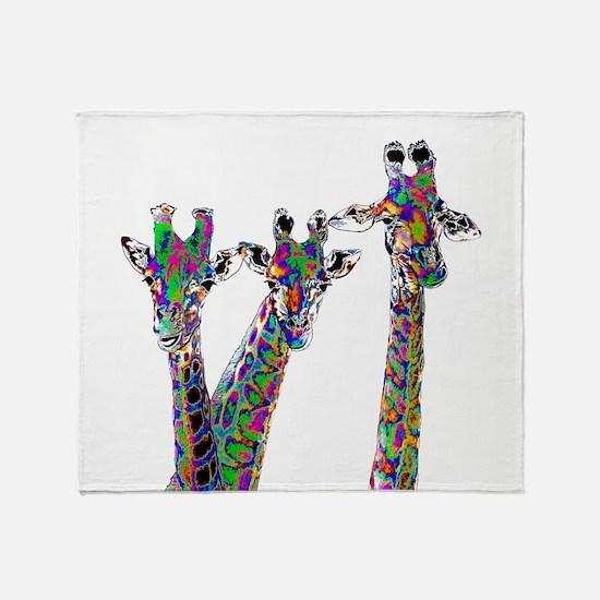 Giraffes in New Pajamas Throw Blanket
