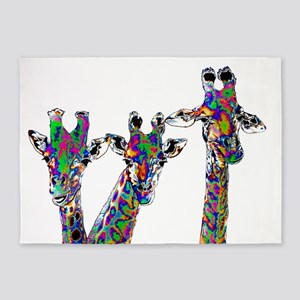 Giraffes in New Pajamas 5'x7'Area Rug