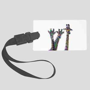 Giraffes in New Pajamas Large Luggage Tag